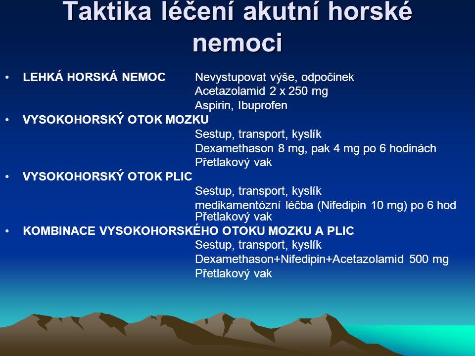 Taktika léčení akutní horské nemoci LEHKÁ HORSKÁ NEMOCNevystupovat výše, odpočinek Acetazolamid 2 x 250 mg Aspirin, Ibuprofen VYSOKOHORSKÝ OTOK MOZKU