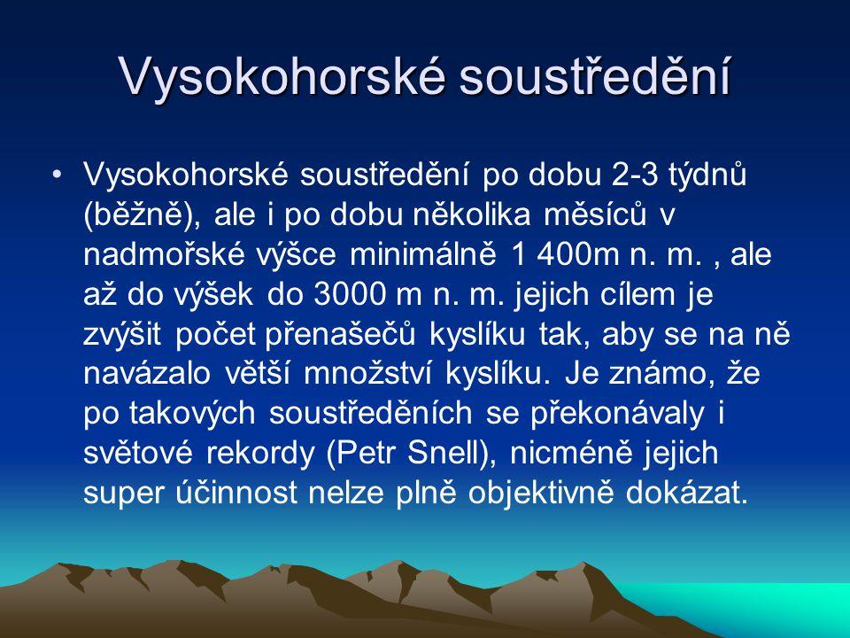 Vysokohorské soustředění Vysokohorské soustředění po dobu 2-3 týdnů (běžně), ale i po dobu několika měsíců v nadmořské výšce minimálně 1 400m n. m., a