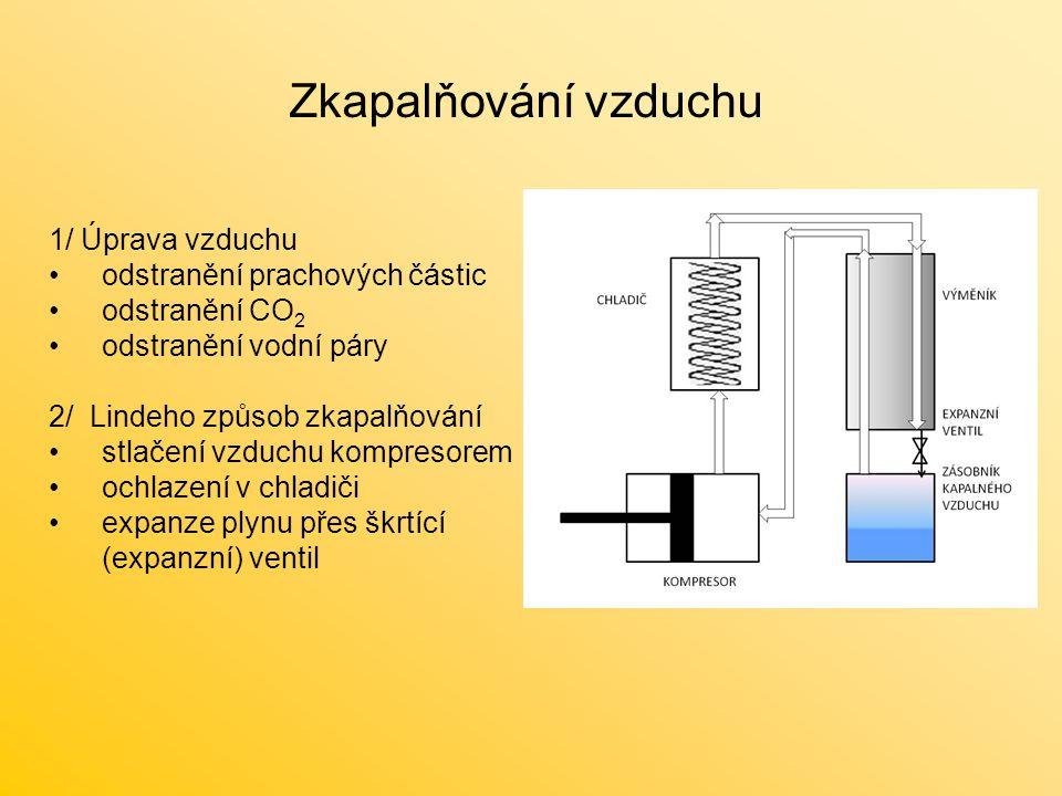 Rektifikace oddělení jednotlivých složek kapalného vzduchu frakční destilace - rozdělení složek na základě jejich rozdílné teploty varu dvě spojené dělící kolony Dolní – vysokotlaká kolona tlak 0,5 MPa teplota ve spodní části -175 °C teplota ve vrchní části kolony -179 °C Horní – atmosférická kolona tlak 0,1 MPa teplota ve spodní části -183 °C teplota ve vrchní části kolony -196 °C http://www.konstrukce-vymeniky-nadoby.cz/cz/realizace rektifikační kolona