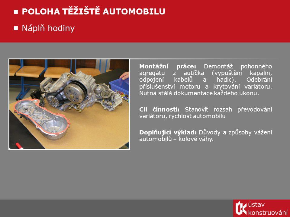 Náplň hodiny POLOHA TĚŽIŠTĚ AUTOMOBILU Montážní práce: Demontáž pohonného agregátu z autíčka (vypuštění kapalin, odpojení kabelů a hadic). Odebrání př