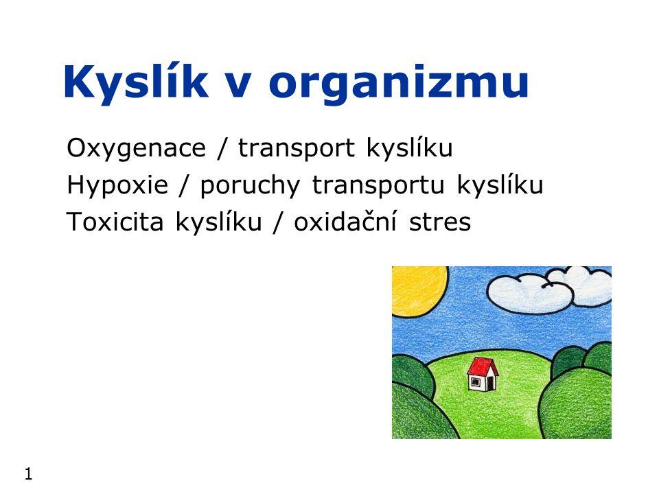 2 Kyslík v organizmu  organizmus potřebuje kyslík: –cca 250ml/min  350l/den v klidu –při zátěži mnohem více  v těle neexistují větší zásoby kyslíku  stačí cca na 5min –dýchání a dodávka kyslíku tkáním je proto nepřetržitý děj –jeho úplné přerušení znamená  ohrožení života (<5min)  reverzibilní ztráta zraku za cca 7s, bezvědomí za cca 10s  klinickou smrt (~5-7min), event.