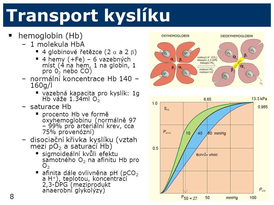8 Transport kyslíku  hemoglobin (Hb) –1 molekula HbA  4 globinové řetězce (2  a 2 )  4 hemy (+Fe) – 6 vazebných míst (4 na hem, 1 na globin, 1 pro 0 2 nebo CO) –normální koncentrace Hb 140 – 160g/l  vazebná kapacita pro kyslík: 1g Hb váže 1.34ml O 2 –saturace Hb  procento Hb ve formě oxyhemoglobinu (normálně 97 – 99% pro arteriální krev, cca 75% provenózní) –disociační křivka kyslíku (vztah mezi pO 2 a saturací Hb)  sigmoideální kvůli efektu samotného O 2 na afinitu Hb pro O 2  afinita dále ovlivněna pH (pCO 2 a H + ), teplotou, koncentrací 2,3-DPG (meziprodukt anaerobní glykolýzy)