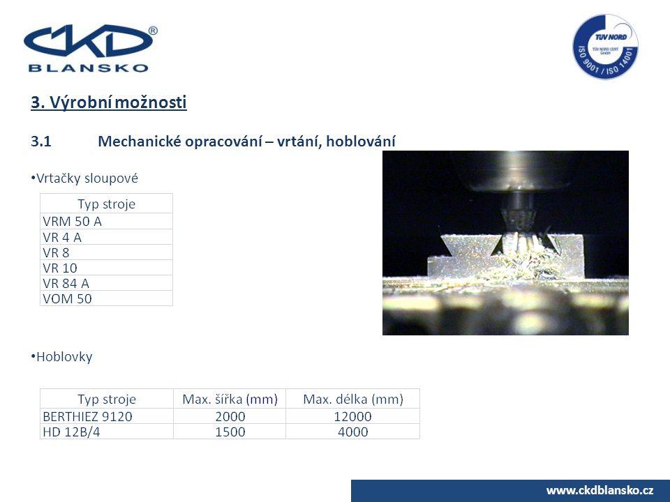 www.ckdblansko.cz 3. Výrobní možnosti 3.1Mechanické opracování – vrtání, hoblování Vrtačky sloupové Hoblovky