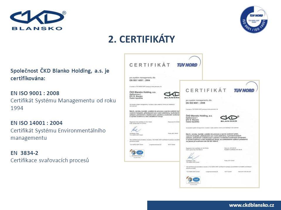 www.ckdblansko.cz 2. CERTIFIKÁTY Společnost ČKD Blanko Holding, a.s. je certifikována: EN ISO 9001 : 2008 Certifikát Systému Managementu od roku 1994