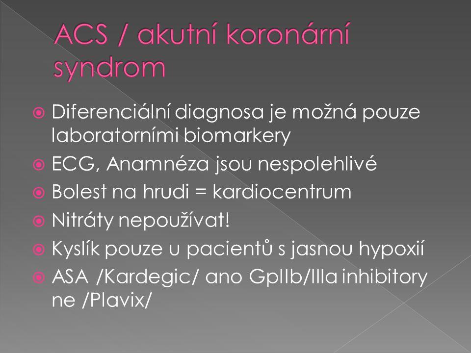  Diferenciální diagnosa je možná pouze laboratorními biomarkery  ECG, Anamnéza jsou nespolehlivé  Bolest na hrudi = kardiocentrum  Nitráty nepouží