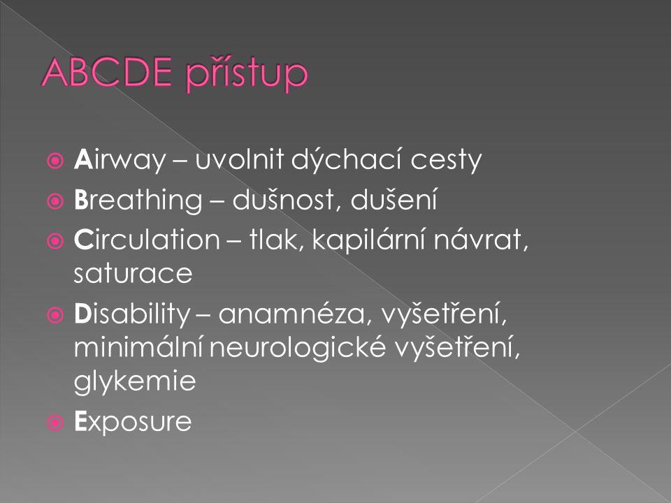  A irway – uvolnit dýchací cesty  B reathing – dušnost, dušení  C irculation – tlak, kapilární návrat, saturace  D isability – anamnéza, vyšetření