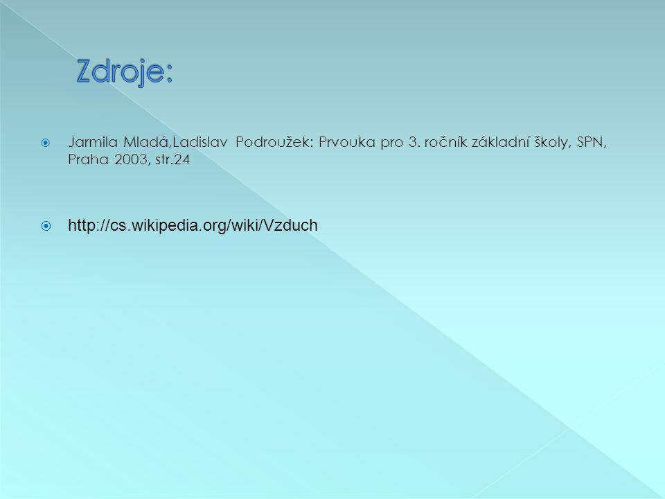  Jarmila Mladá,Ladislav Podroužek: Prvouka pro 3. ročník základní školy, SPN, Praha 2003, str.24  http://cs.wikipedia.org/wiki/Vzduch
