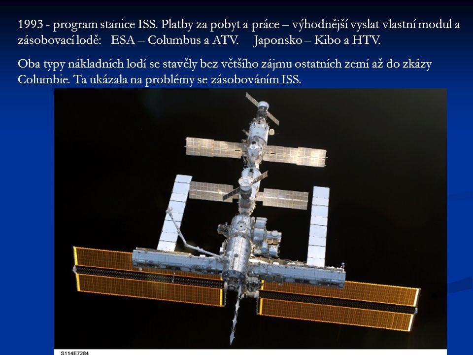1993 - program stanice ISS. Platby za pobyt a práce – výhodnější vyslat vlastní modul a zásobovací lodě: ESA – Columbus a ATV. Japonsko – Kibo a HTV.