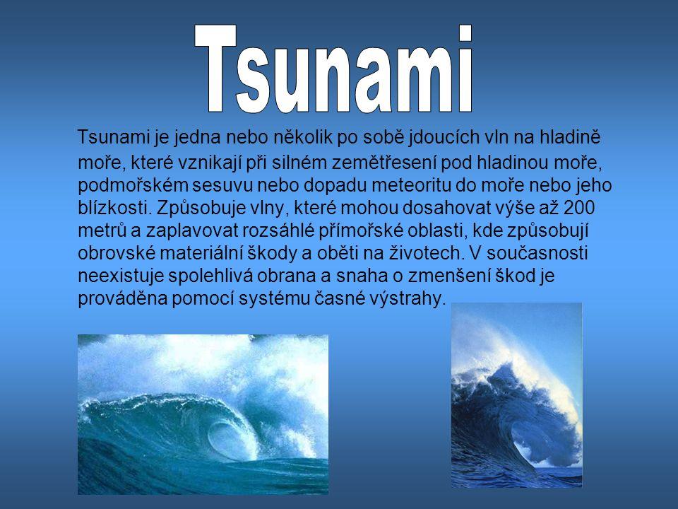Tsunami je jedna nebo několik po sobě jdoucích vln na hladině moře, které vznikají při silném zemětřesení pod hladinou moře, podmořském sesuvu nebo do