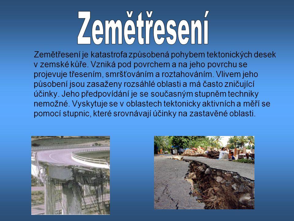 Zemětřesení je katastrofa způsobená pohybem tektonických desek v zemské kůře.