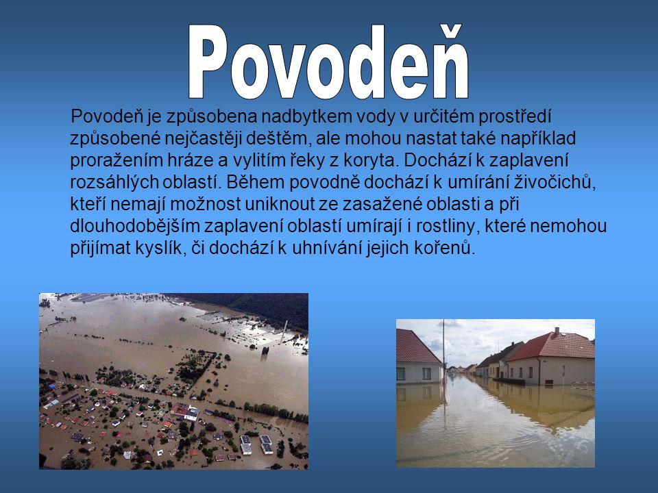 Povodeň je způsobena nadbytkem vody v určitém prostředí způsobené nejčastěji deštěm, ale mohou nastat také například proražením hráze a vylitím řeky z