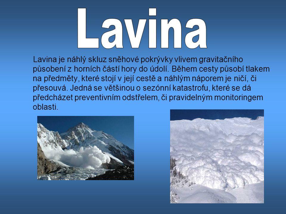Lavina je náhlý skluz sněhové pokrývky vlivem gravitačního působení z horních částí hory do údolí. Během cesty působí tlakem na předměty, které stojí