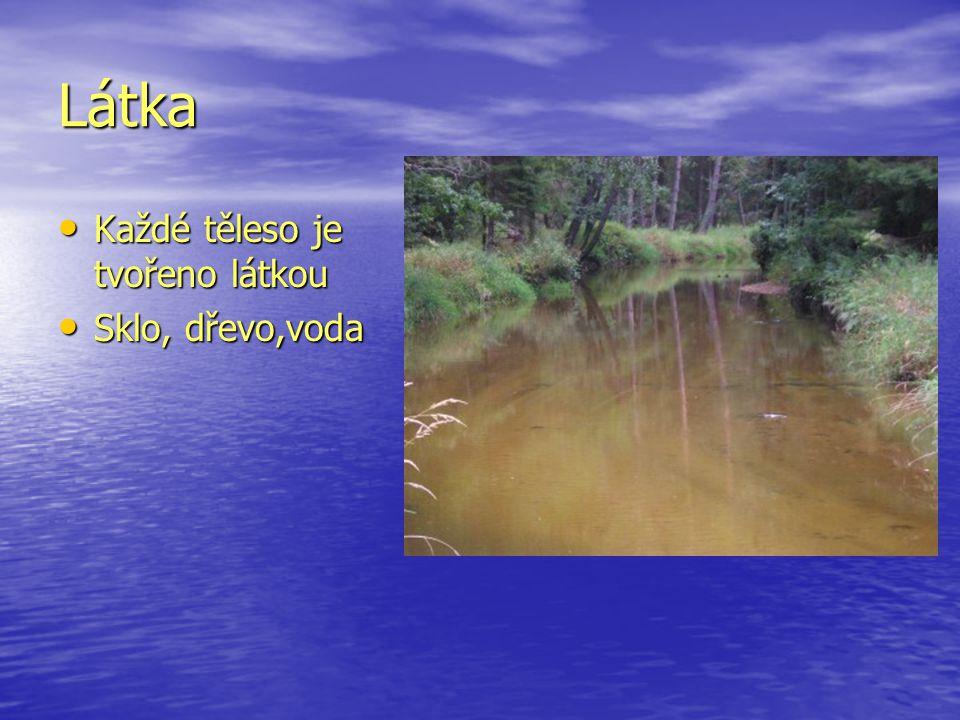 Látka Každé těleso je tvořeno látkou Každé těleso je tvořeno látkou Sklo, dřevo,voda Sklo, dřevo,voda