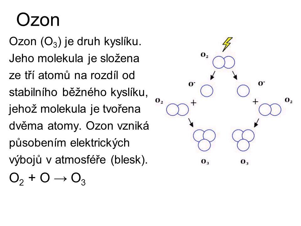 Ozon Ozon (O 3 ) je druh kyslíku. Jeho molekula je složena ze tří atomů na rozdíl od stabilního běžného kyslíku, jehož molekula je tvořena dvěma atomy