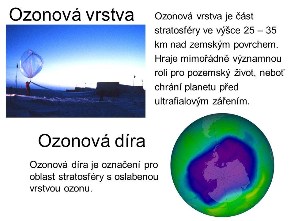 Ozonová vrstva Ozonová vrstva je část stratosféry ve výšce 25 – 35 km nad zemským povrchem. Hraje mimořádně významnou roli pro pozemský život, neboť c