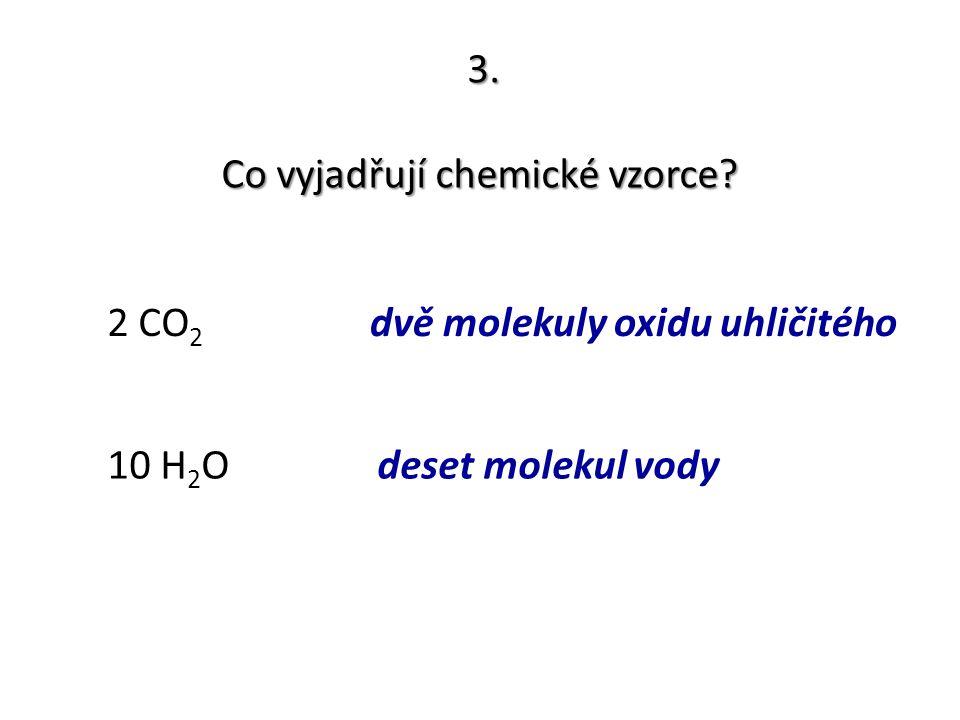 3. Co vyjadřují chemické vzorce? 2 CO 2 10 H 2 O dvě molekuly oxidu uhličitého deset molekul vody