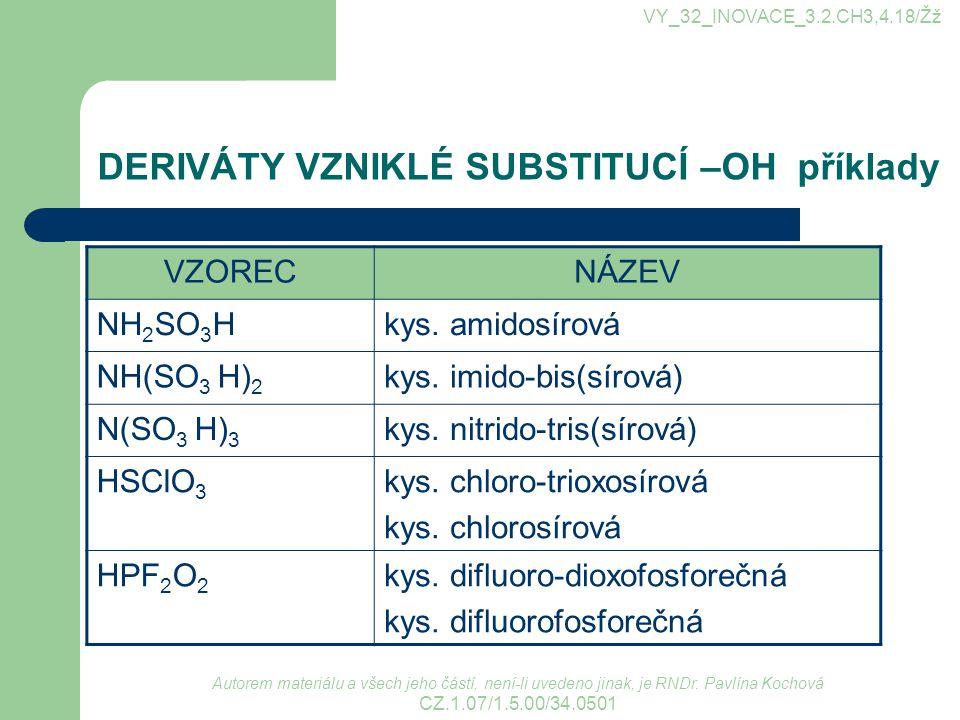 Autorem materiálu a všech jeho částí, není-li uvedeno jinak, je RNDr. Pavlína Kochová CZ.1.07/1.5.00/34.0501 VY_32_INOVACE_3.2.CH3,4.18/Žž DERIVÁTY VZ