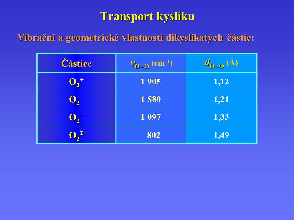 Transport kyslíku Částice O – O O – O (cm -1 ) d O – O d O – O (Å) O2+O2+O2+O2+ 1 9051,12 O2O2O2O2 1 5801,21 O2–O2–O2–O2– 1 0971,33 O 2 2- 8021,49 Vibrační a geometrické vlastnosti dikyslíkatých částic Vibrační a geometrické vlastnosti dikyslíkatých částic :