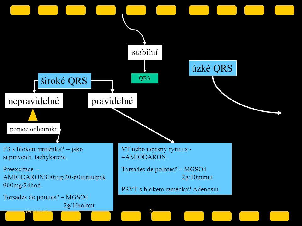 leden '062 stabilní QRS široké QRS nepravidelné pomoc odborníka FS s blokem raménka? – jako supraventr. tachykardie. Preexcitace – AMIODARON300mg/20-6