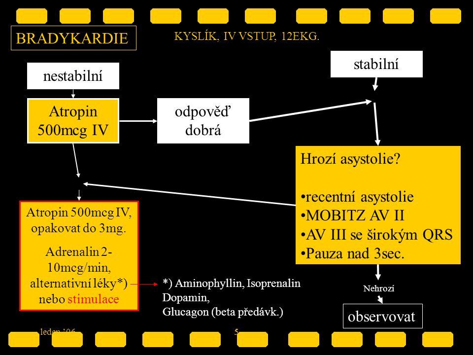 5 BRADYKARDIE KYSLÍK, IV VSTUP, 12EKG. nestabilní stabilní Atropin 500mcg IV Atropin 500mcg IV, opakovat do 3mg. Adrenalin 2- 10mcg/min, alternativní