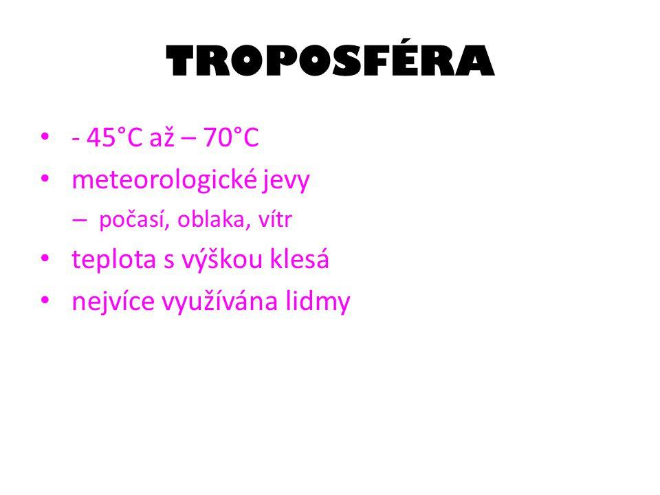 TROPOSFÉRA - 45°C až – 70°C meteorologické jevy – počasí, oblaka, vítr teplota s výškou klesá nejvíce využívána lidmy