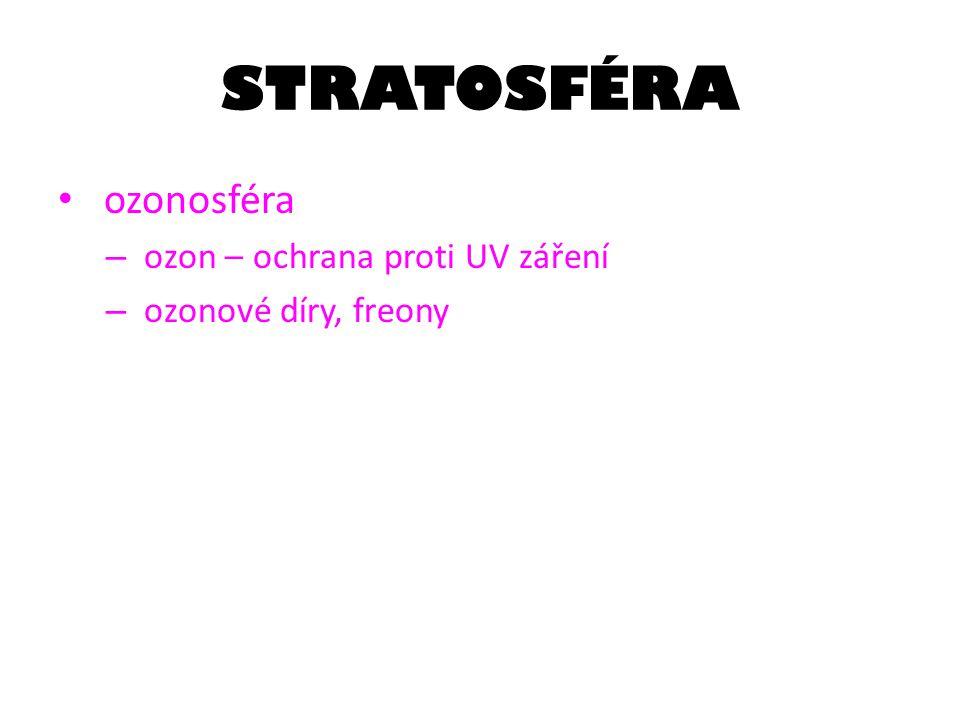 STRATOSFÉRA ozonosféra – ozon – ochrana proti UV záření – ozonové díry, freony