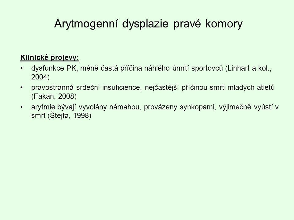 Klinické projevy: dysfunkce PK, méně častá příčina náhlého úmrtí sportovců (Linhart a kol., 2004) pravostranná srdeční insuficience, nejčastější příči