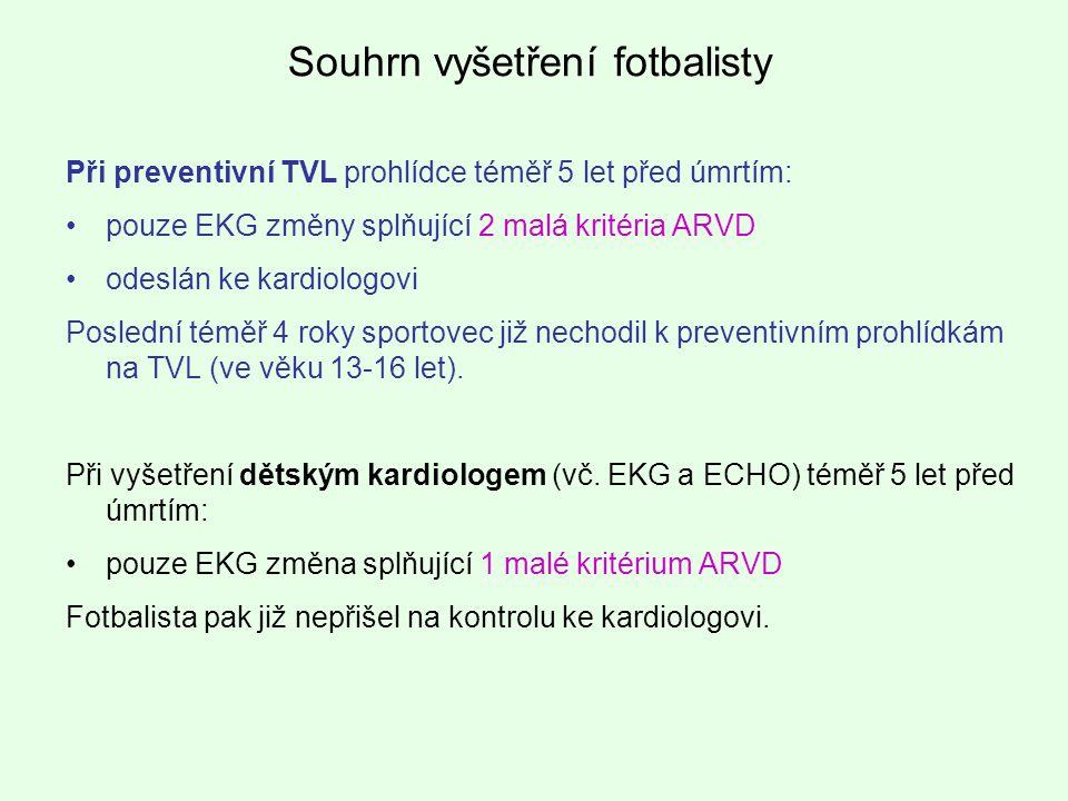 Při preventivní TVL prohlídce téměř 5 let před úmrtím: pouze EKG změny splňující 2 malá kritéria ARVD odeslán ke kardiologovi Poslední téměř 4 roky sp