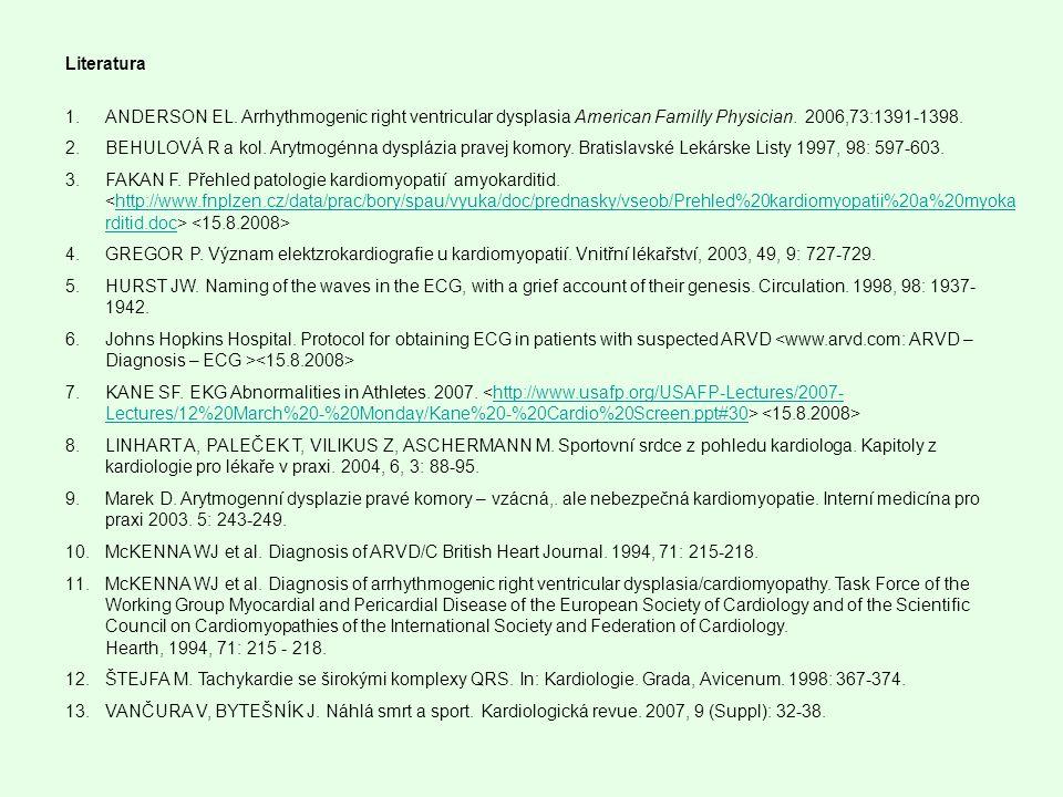 Literatura 1.ANDERSON EL. Arrhythmogenic right ventricular dysplasia American Familly Physician. 2006,73:1391-1398. 2.BEHULOVÁ R a kol. Arytmogénna dy