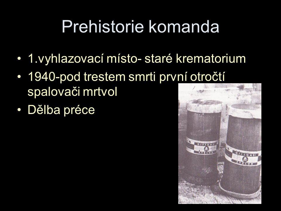 Prehistorie komanda 1.vyhlazovací místo- staré krematorium 1940-pod trestem smrti první otročtí spalovači mrtvol Dělba préce
