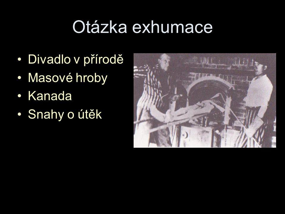 Otázka exhumace Divadlo v přírodě Masové hroby Kanada Snahy o útěk
