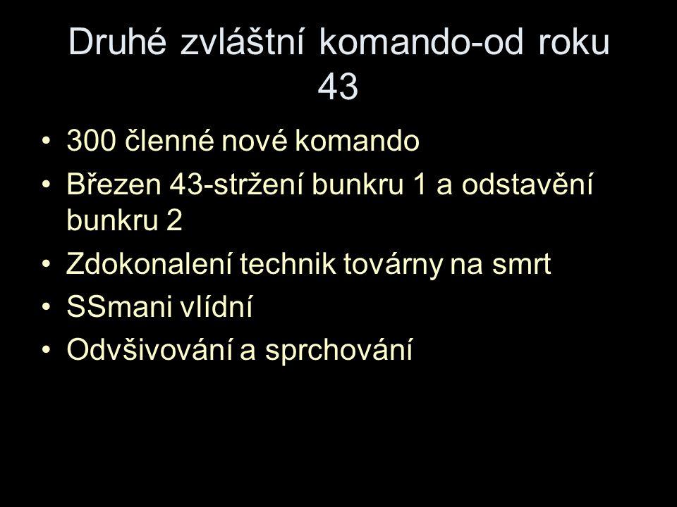 Druhé zvláštní komando-od roku 43 300 členné nové komando Březen 43-stržení bunkru 1 a odstavění bunkru 2 Zdokonalení technik továrny na smrt SSmani vlídní Odvšivování a sprchování