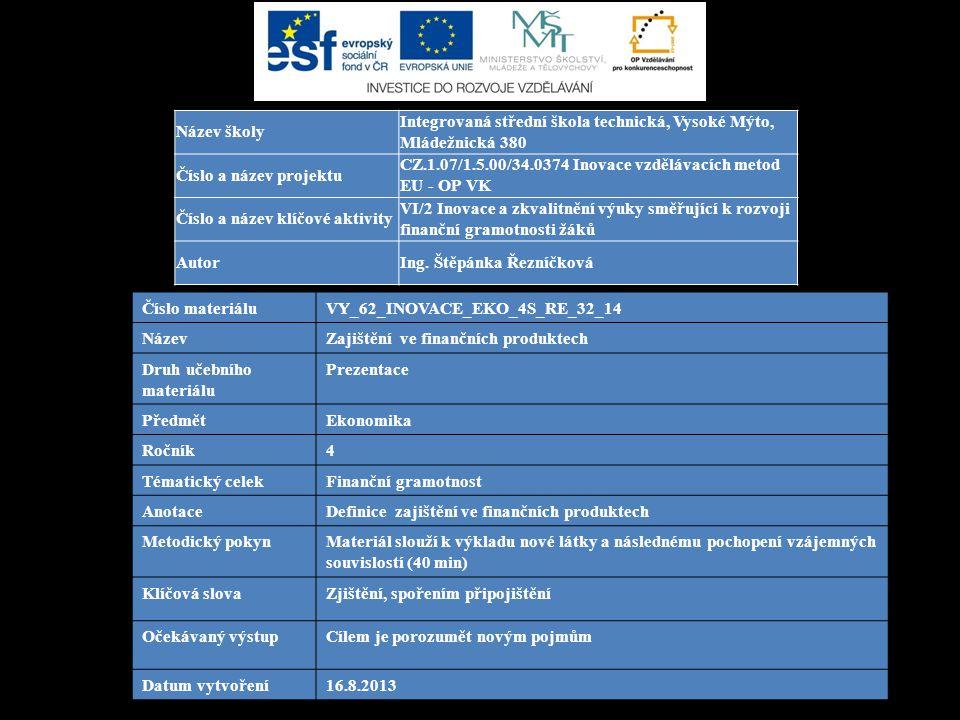 Číslo materiáluVY_62_INOVACE_EKO_4S_RE_32_14 NázevZajištění ve finančních produktech Druh učebního materiálu Prezentace PředmětEkonomika Ročník4 Témat
