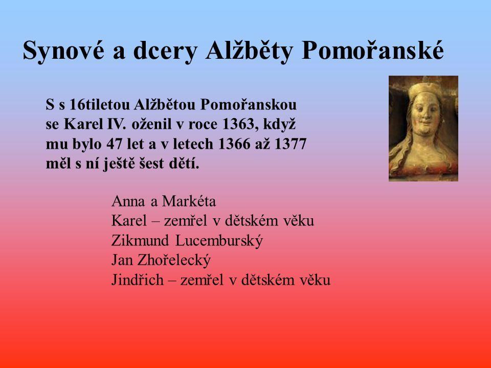 Synové a dcery Alžběty Pomořanské S s 16tiletou Alžbětou Pomořanskou se Karel IV. oženil v roce 1363, když mu bylo 47 let a v letech 1366 až 1377 měl