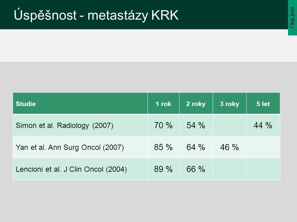 Úspěšnost - metastázy KRK ČRK 2010 Studie1 rok2 roky3 roky5 let Simon et al. Radiology (2007) 70 %54 %44 % Yan et al. Ann Surg Oncol (2007) 85 %64 %46