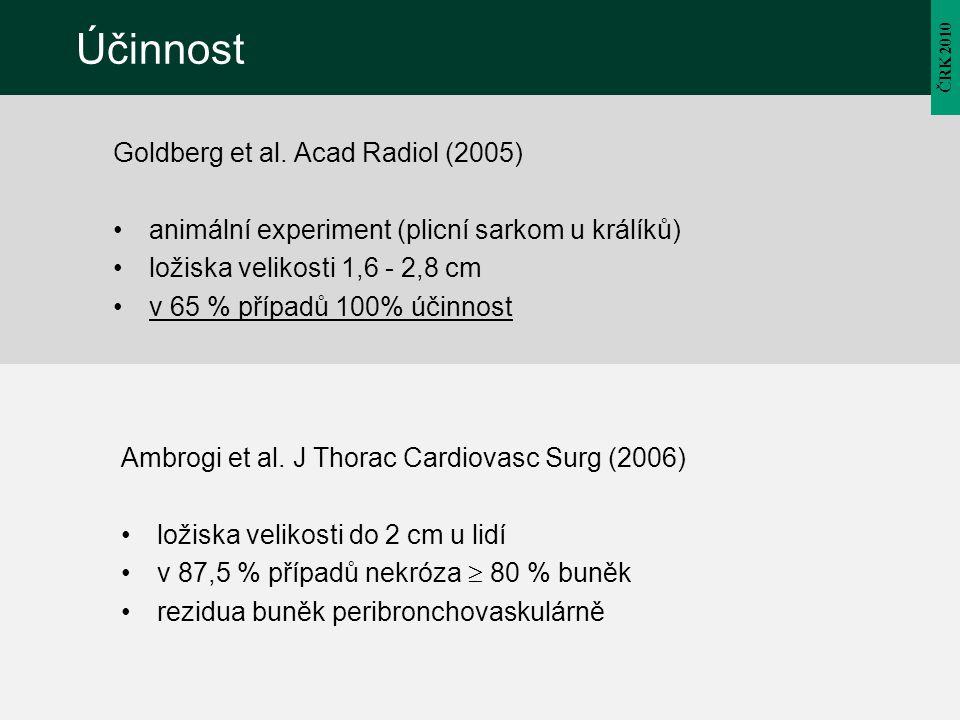 ČRK 2010 Účinnost Goldberg et al. Acad Radiol (2005) animální experiment (plicní sarkom u králíků) ložiska velikosti 1,6 - 2,8 cm v 65 % případů 100%