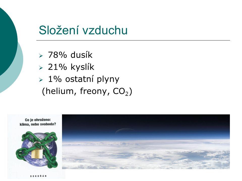 Složení vzduchu  78% dusík  21% kyslík  1% ostatní plyny (helium, freony, CO 2 )
