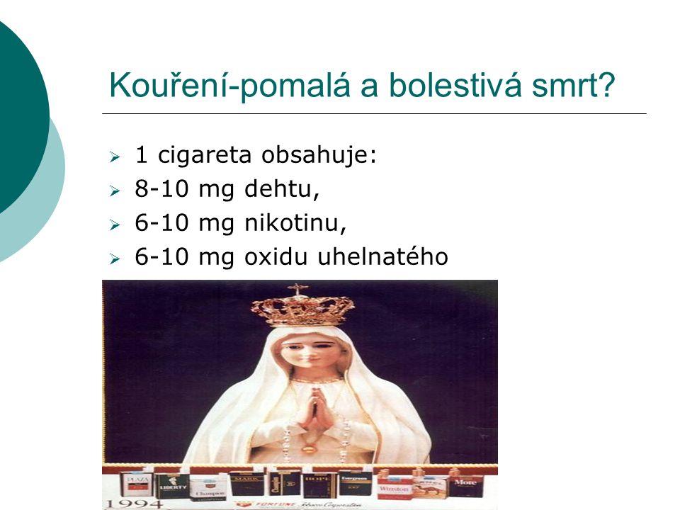 Kouření-pomalá a bolestivá smrt?  1 cigareta obsahuje:  8-10 mg dehtu,  6-10 mg nikotinu,  6-10 mg oxidu uhelnatého