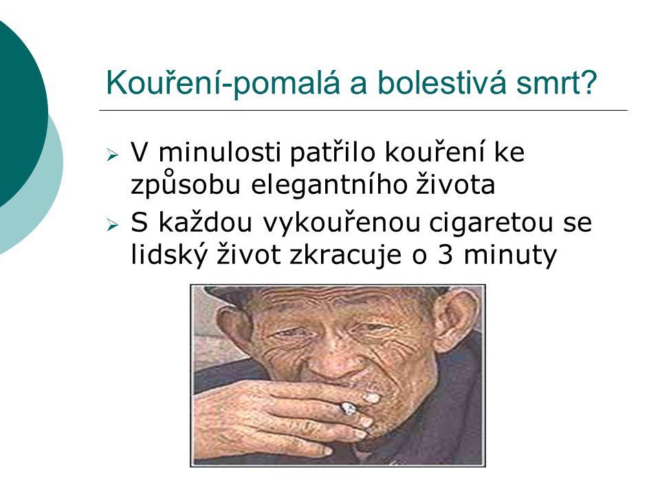 Kouření-pomalá a bolestivá smrt?  V minulosti patřilo kouření ke způsobu elegantního života  S každou vykouřenou cigaretou se lidský život zkracuje