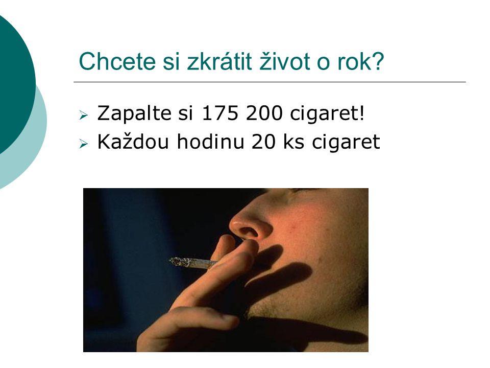 Chcete si zkrátit život o rok?  Zapalte si 175 200 cigaret!  Každou hodinu 20 ks cigaret