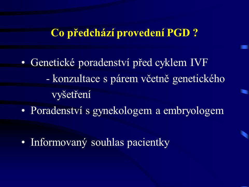 Nevýhody PGD Limitovaný počet buněk dostupných genetické analýze Možné riziko narušení vývoje vyšetřovaného embrya Není vyloučená jiná genetická vada Doplnění PGD amniocentézou
