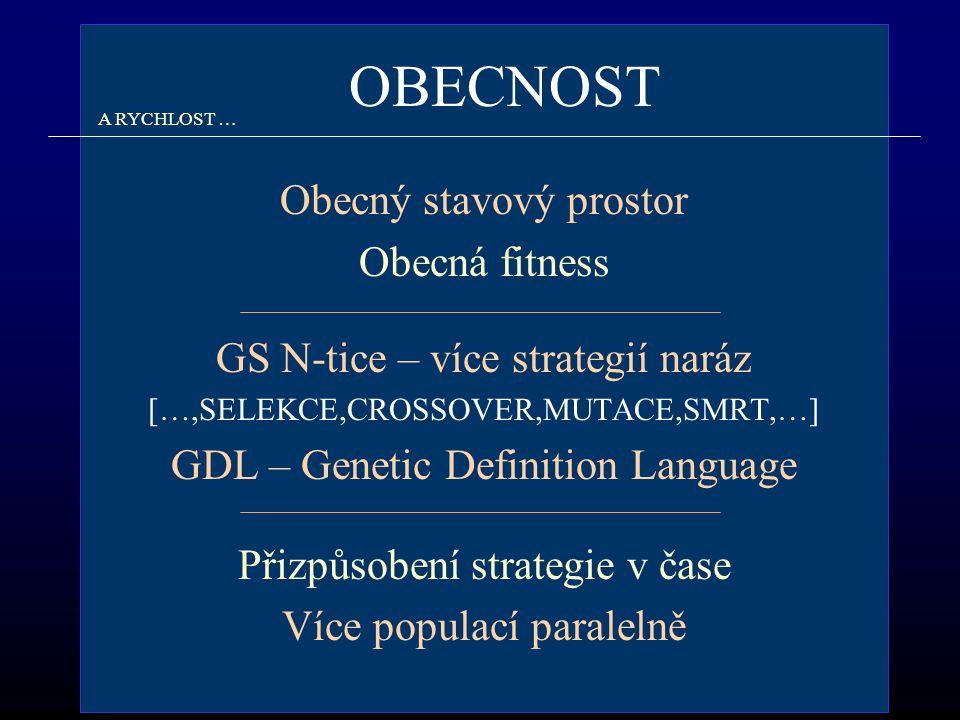 OBECNOST A RYCHLOST … Obecný stavový prostor Obecná fitness GS N-tice – více strategií naráz […,SELEKCE,CROSSOVER,MUTACE,SMRT,…] GDL – Genetic Definition Language Přizpůsobení strategie v čase Více populací paralelně