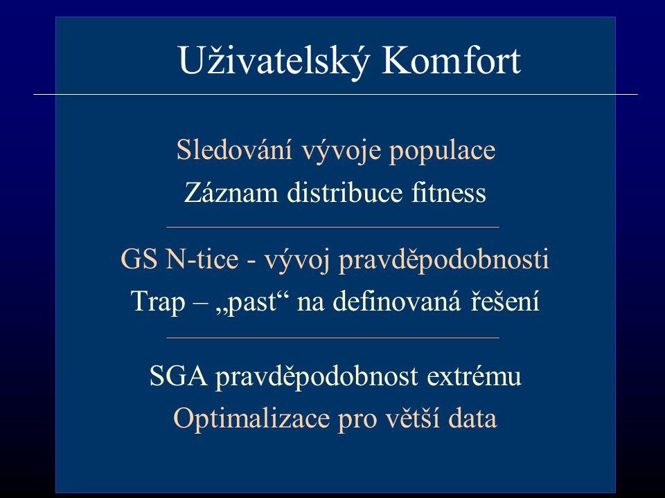 """Uživatelský Komfort Sledování vývoje populace Záznam distribuce fitness GS N-tice - vývoj pravděpodobnosti Trap – """"past na definovaná řešení SGA pravděpodobnost extrému Optimalizace pro větší data"""