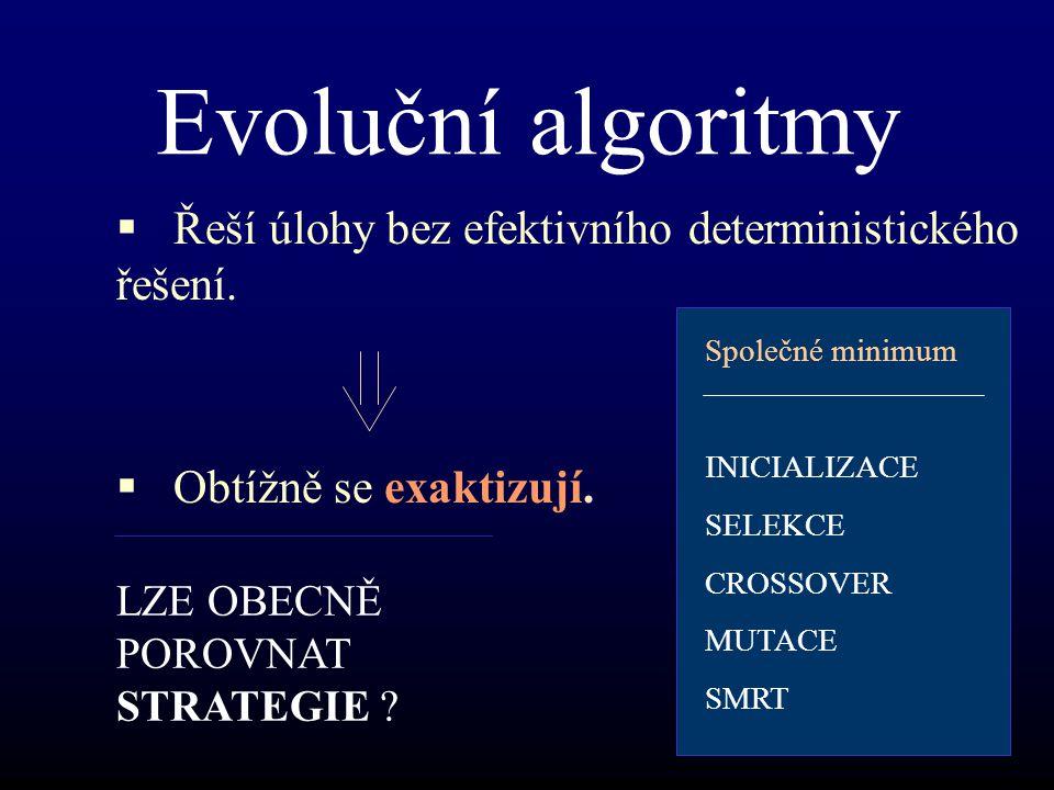 Evoluční algoritmy  Řeší úlohy bez efektivního deterministického řešení.