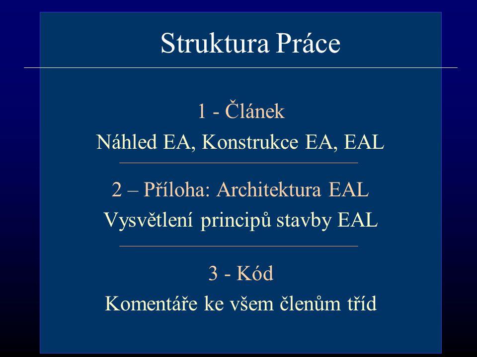 Struktura Práce 1 - Článek Náhled EA, Konstrukce EA, EAL 2 – Příloha: Architektura EAL Vysvětlení principů stavby EAL 3 - Kód Komentáře ke všem členům tříd
