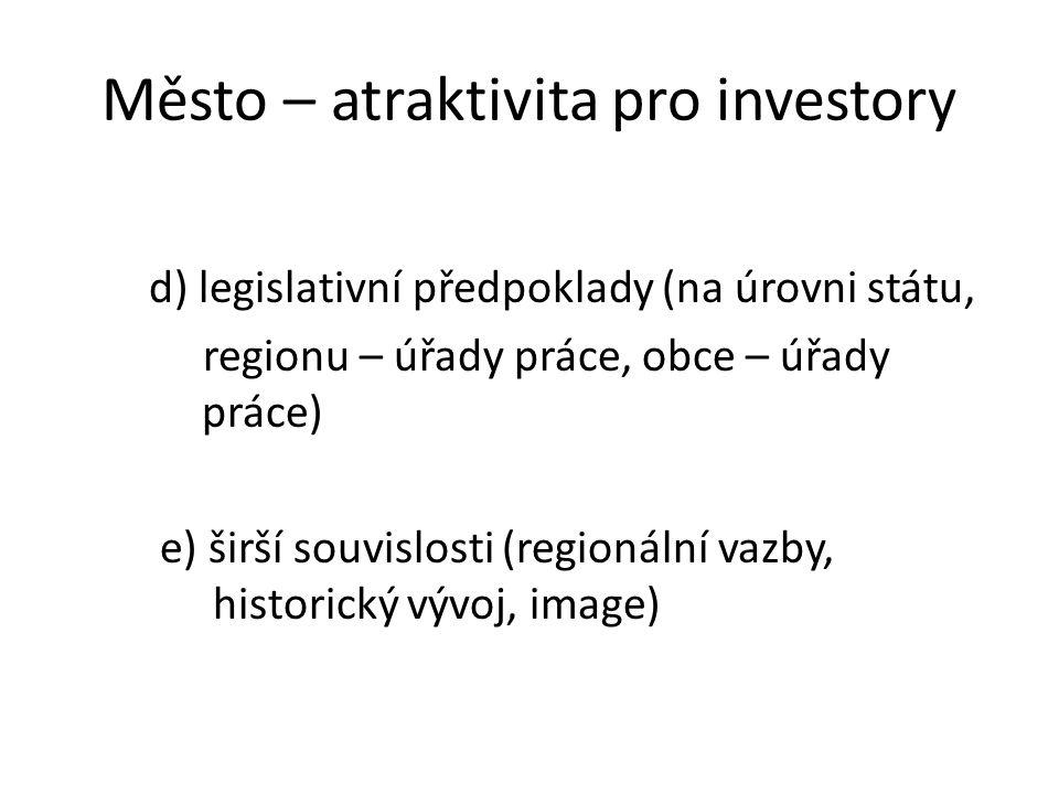 Město – atraktivita pro investory d) legislativní předpoklady (na úrovni státu, regionu – úřady práce, obce – úřady práce) e) širší souvislosti (regionální vazby, historický vývoj, image)