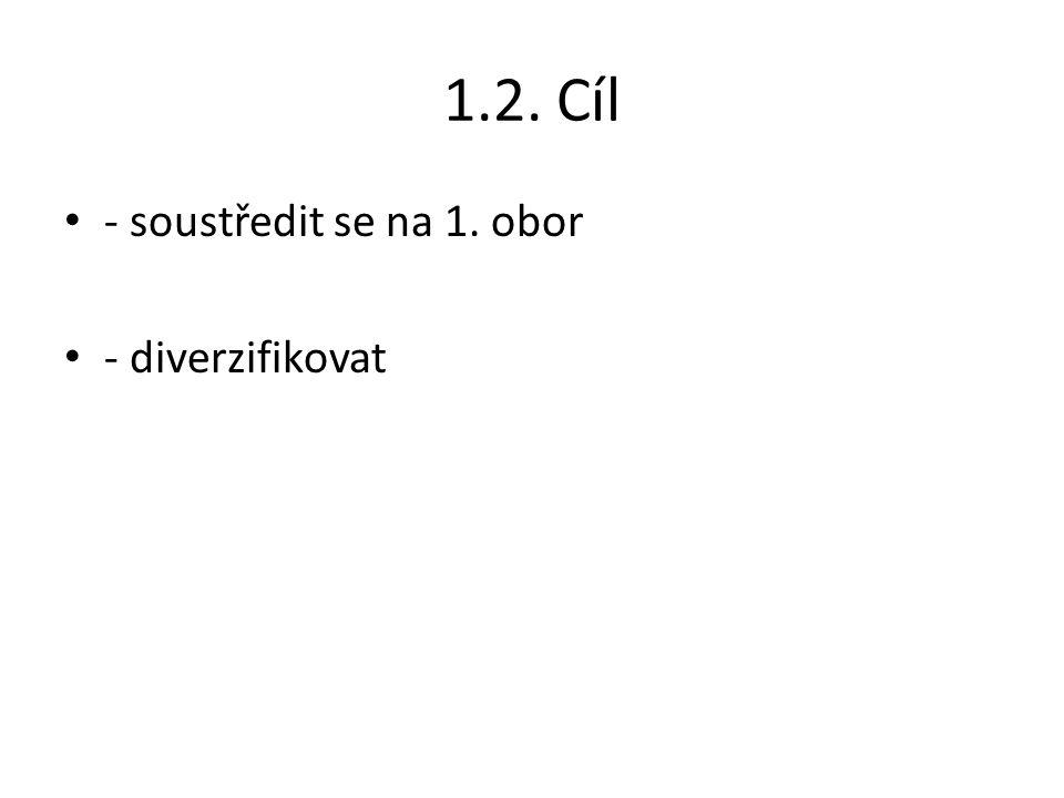 1.2. Cíl - soustředit se na 1. obor - diverzifikovat