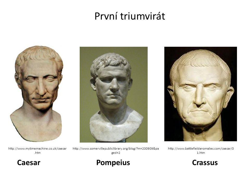 První triumvirát Caesar PompeiusCrassus http://www.battlefieldanomalies.com/caesar/0 1.htm http://www.somervillepubliclibrary.org/blog/?m=200909&pa ge