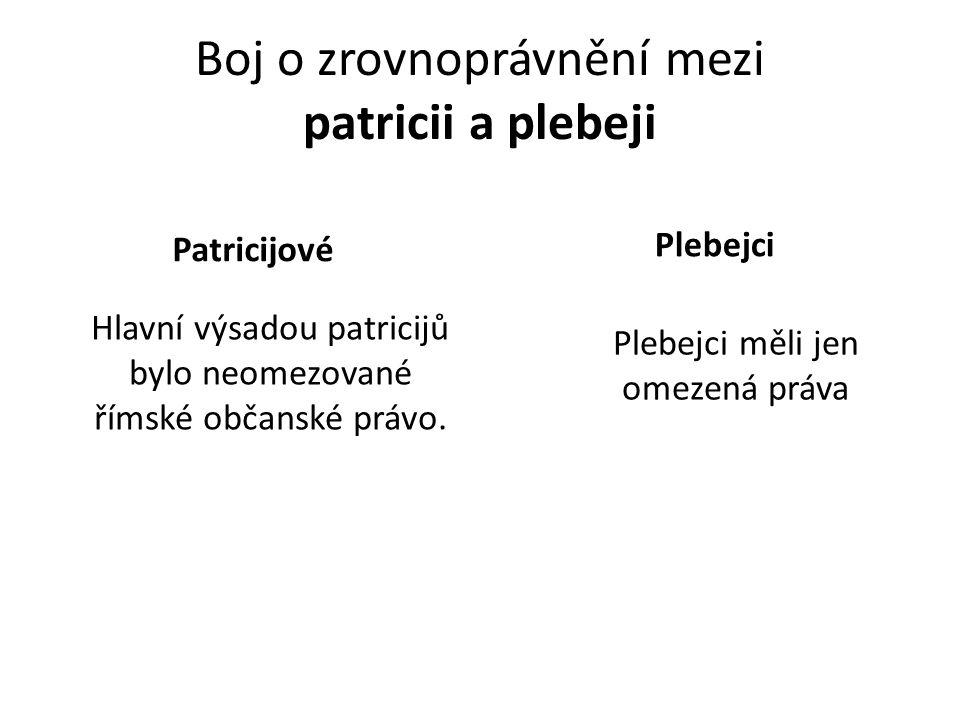 Boj o zrovnoprávnění mezi patricii a plebeji Patricijové Hlavní výsadou patricijů bylo neomezované římské občanské právo. Plebejci měli jen omezená pr