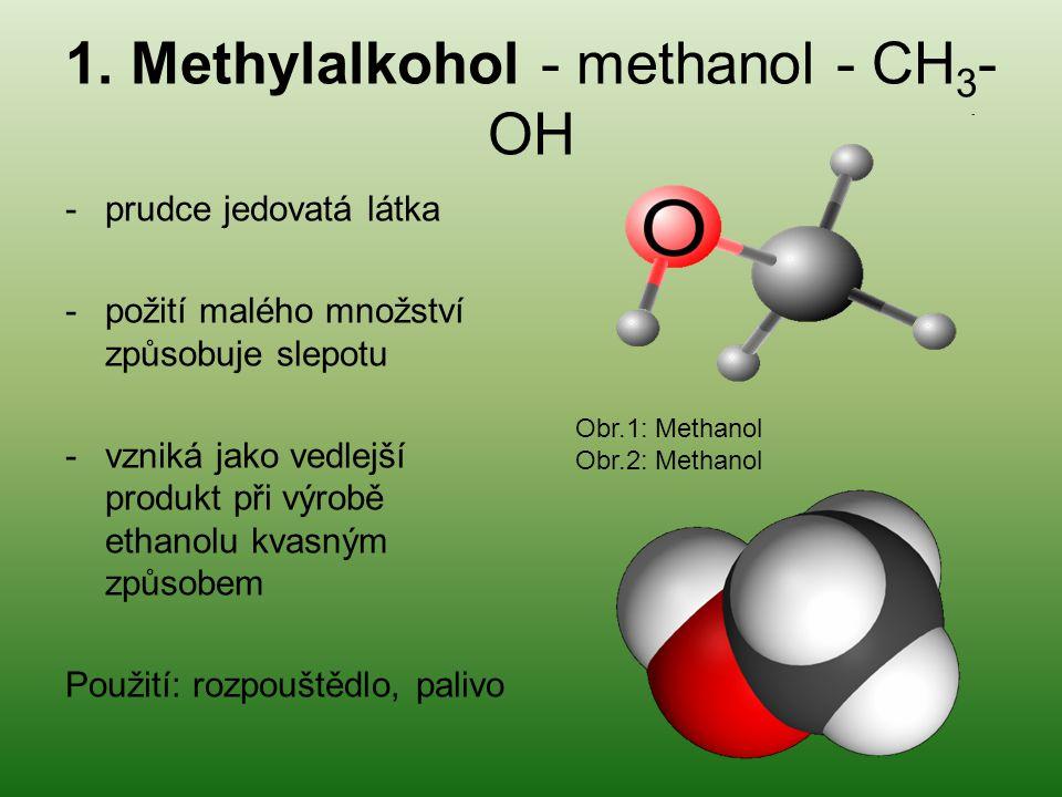 1. Methylalkohol - methanol - CH 3 - OH -prudce jedovatá látka -požití malého množství způsobuje slepotu -vzniká jako vedlejší produkt při výrobě etha